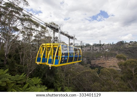 AUSTRALIA - The skyway connecting two cliffs in the Blue Mountains in Katoomba, New South Wales on April 1, 2013 - stock photo