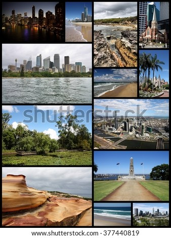 Australia travel photo collage - images collection with Sydney, Melbourne, Perth, Brisbane and Gold Coast. - stock photo