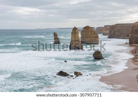 Australia Travel, The twelve Apostles on Great Ocean Road tour, Port Campbell National park  - stock photo