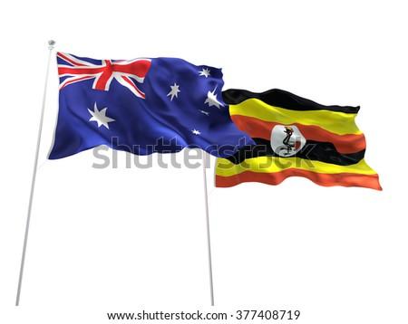 Australia & Uganda Flags are waving on the isolated white background - stock photo