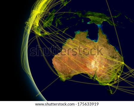 Australia viewed from space with connections representing main air traffic routes. Elements of this image furnished by NASA. - stock photo