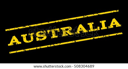 Australia watermark stamp. Text Caption between parallel lines with grunge design style. Rubber seal stamp with scratched texture. Glyph yellow color ink imprint on a blue background.