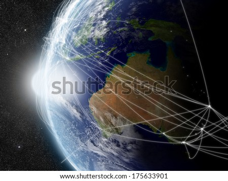 Australia with network representing major air traffic routes. Elements of this image furnished by NASA. - stock photo