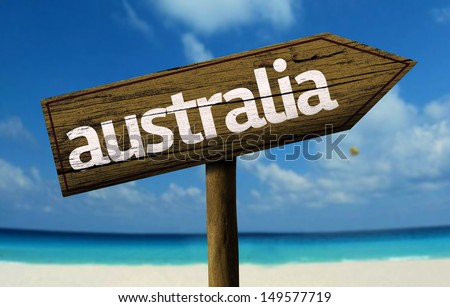 Australia wooden sign with a beach on background   - stock photo