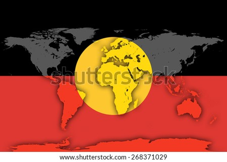Australian Aboriginal flag and world map background
