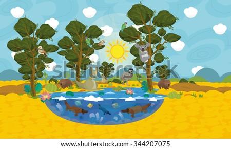 Australian animals scene - illustration for the children - stock photo