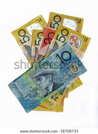Australian Bank notes isolated on white background - stock photo