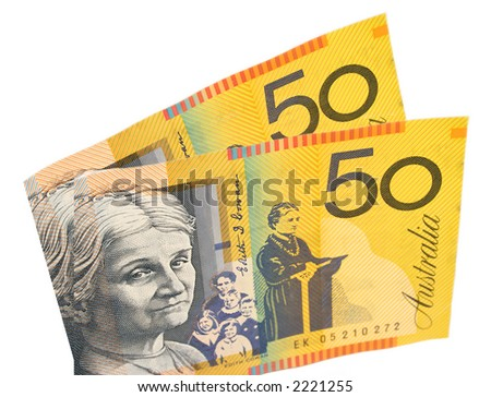 Australian $50 bills - stock photo