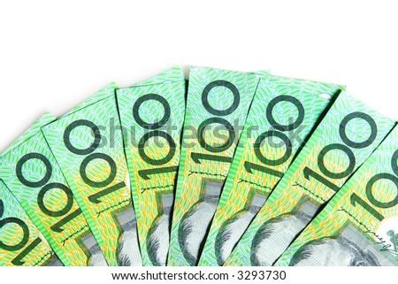 Australian $100 bills, on white background. - stock photo