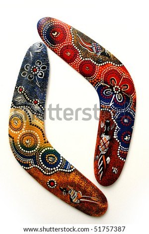 Australian Boomerang with beautiful design. Isolated on white. - stock photo