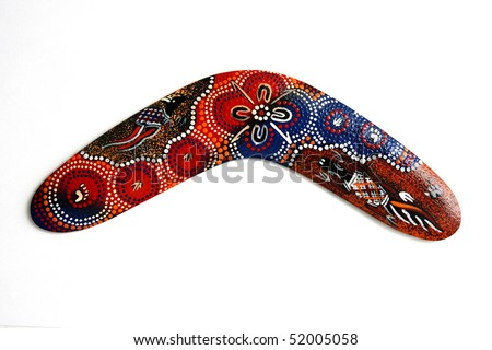 Australian Boomerang with beautiful design. Isolated on white.
