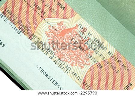 Australian 457 Business Visa In Green Passport Page - stock photo