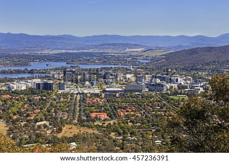 Australian capital territory Canberra city centre on a sunny summer day aerially seen from a distance from Mt Ainslie lookout.