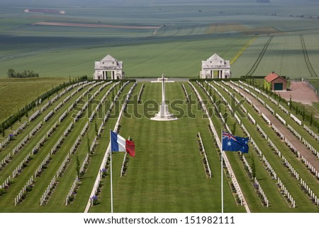 Australian Cemetery in the Vallee de la Somme in France. Battle of the Somme took place in the First World War between 1st July and 21st November 1916. 600,000 allied and 465,000 German troops died. - stock photo