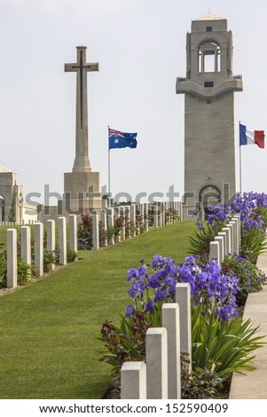 Australian Cemetery in the Vallee de la Somme in France. The Battle of the Somme took place in the First World War between July and November 1916. Over 600,000 allied and 465,000 German troops died. - stock photo