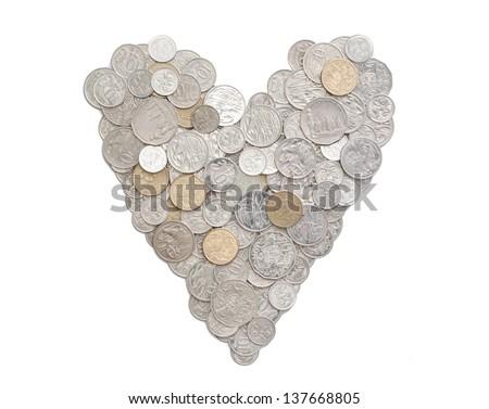 Australian coins arranged in a heart shape.   - stock photo