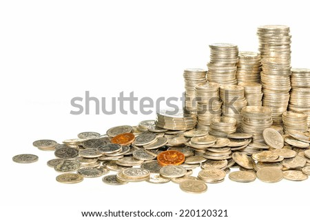 Australian coins arranged isolated on  white background