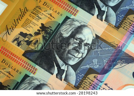 Australian Currency close up. (Shallow depth of Field) - stock photo