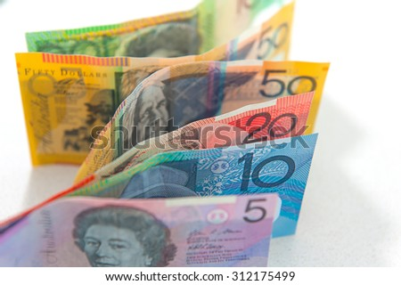 Australian currency, coins, bank notes background with isolate on white background