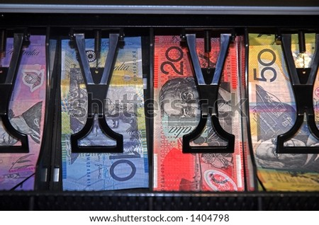 australian currency in a cash register - stock photo