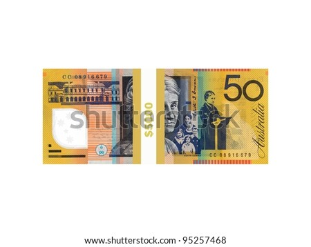 Australian currency isolated against a white background - stock photo