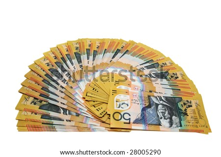 Australian Currency isolated on white. - stock photo