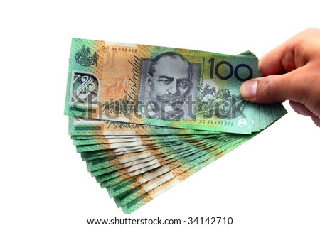 Australian Currency isolated on white - stock photo