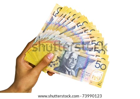Australian currency isolated on white background. - stock photo