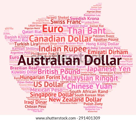 Australian Dollar Indicating Forex Trading And Wordcloud