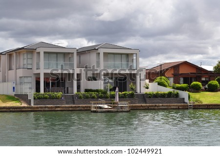 Australian family home. House on the lake - stock photo
