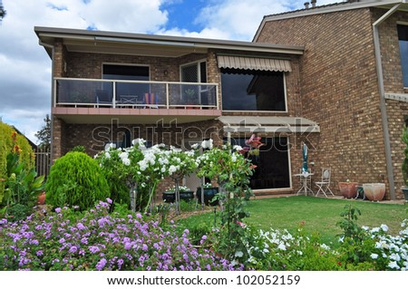 Australian family house. House on the lake - stock photo