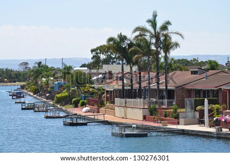 Australian family houses on the lake - stock photo