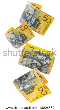 Australian fifty dollar notes, cascading down.  White background. - stock photo