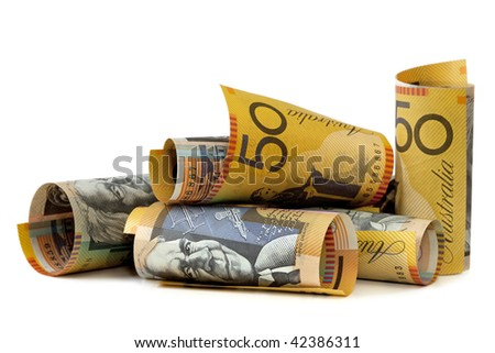 Australian fifty dollar notes, isolated on white. - stock photo