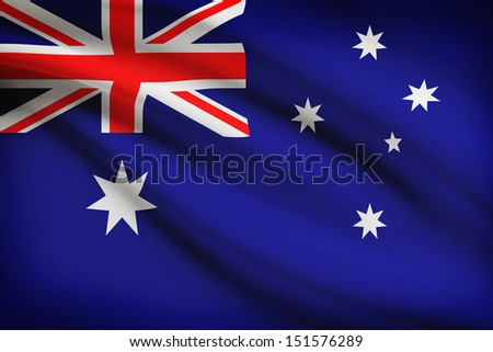 Australian flag blowing in the wind. Part of a series. - stock photo
