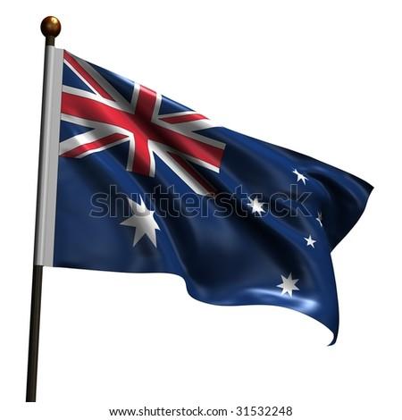 Australian flag. High resolution 3d render isolated on white. - stock photo