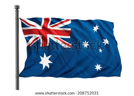 Australian flag isolated on white. - stock photo