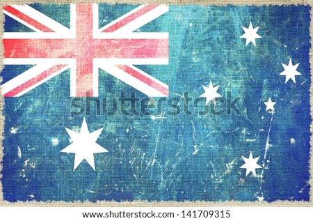 Australian Flag on Canvas. Grungy Australia Flag Background. - stock photo