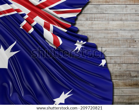 Australian Folded Flag with horizontal wood - stock photo