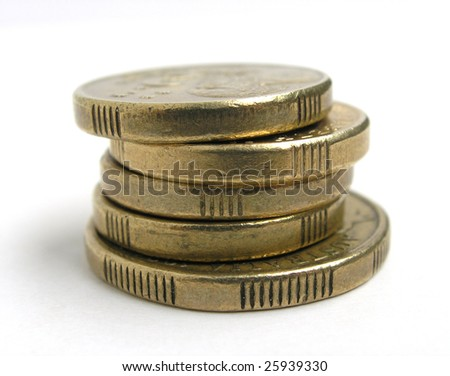 Australian gold coins. One dollar and two dollar coins. - stock photo