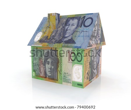 australian home with banknotes 3d illustration - stock photo