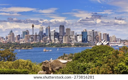 Australian iconic city - Sydney - cityscape panoramic view from across Harbour on a sunny summer day - stock photo