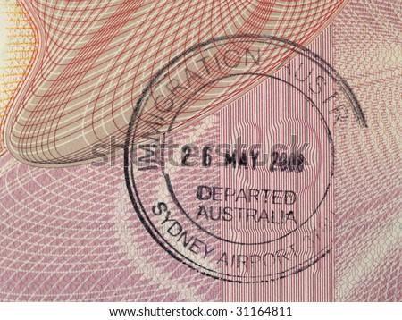 Australian immigration stamp in passport - stock photo