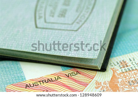 Australian immigration visa and passport - stock photo