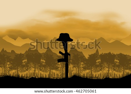 Australian in Vietnam. circa 1960's era. Set   against a mountain, jungle and flag background. Digital Illustration.