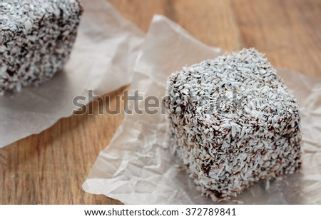 Australian Lamington cake on wooden table