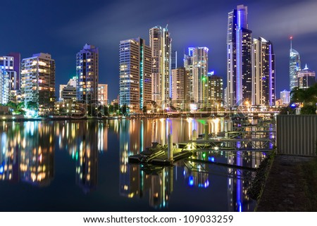 australian modern city at night (gold coast,  queensland, australia) - stock photo