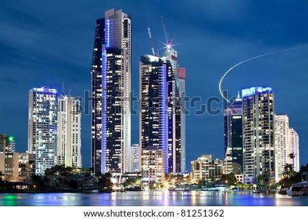 australian modern city at night (gold coast, Queensland, Australia) - stock photo