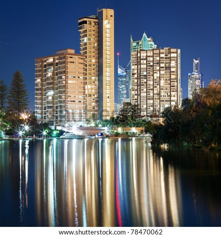 australian modern city at night (surfers paradise,gold coast, queensland, australia)