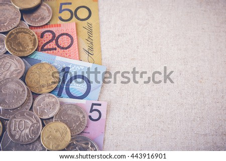 Australian money, AUD  selective focus toning copy space background - stock photo